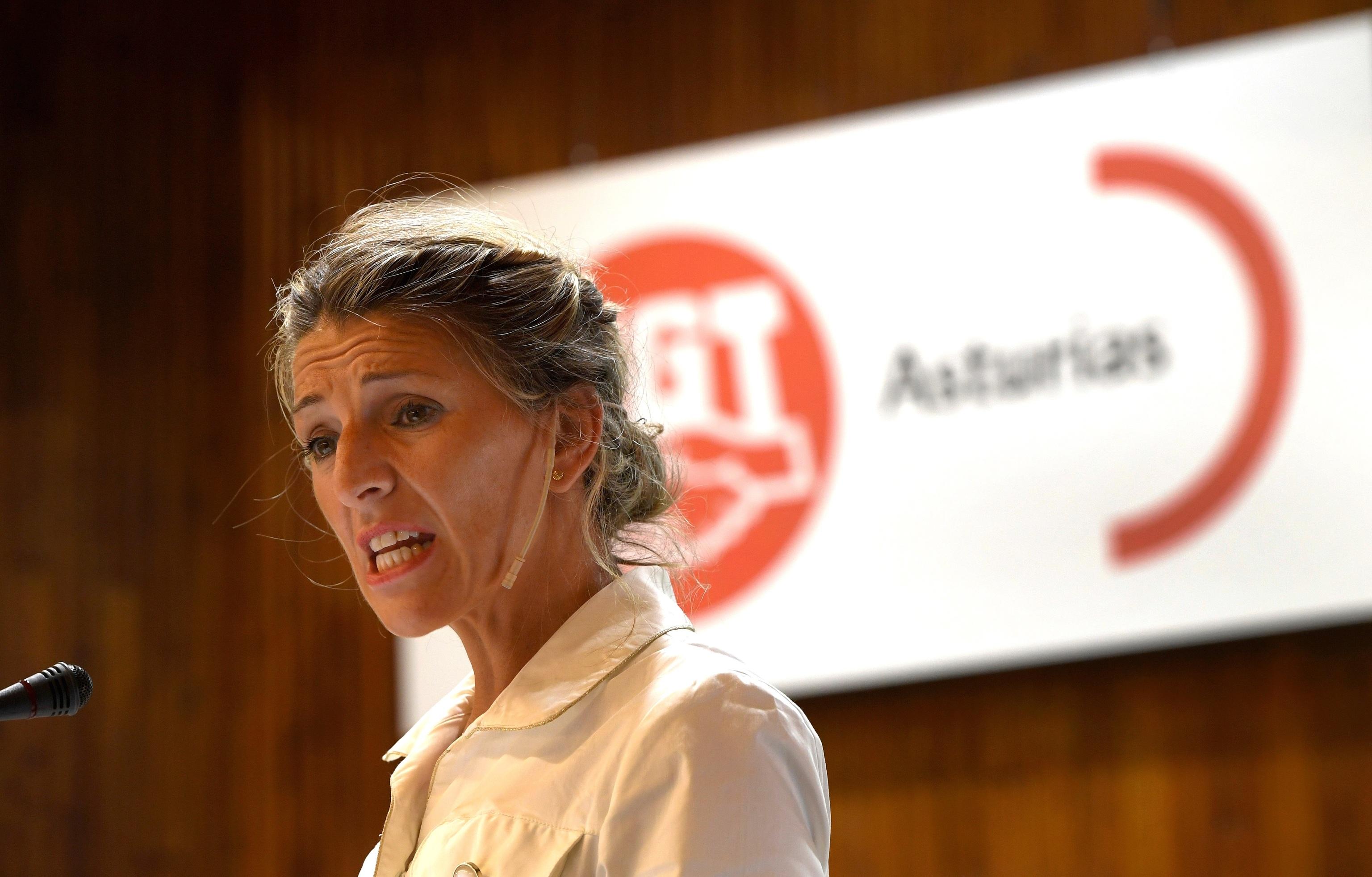 La vicepresidenta del Gobierno y ministra de Trabajo, Yolanda Díaz, en un discurso la semana pasada en Oviedo.