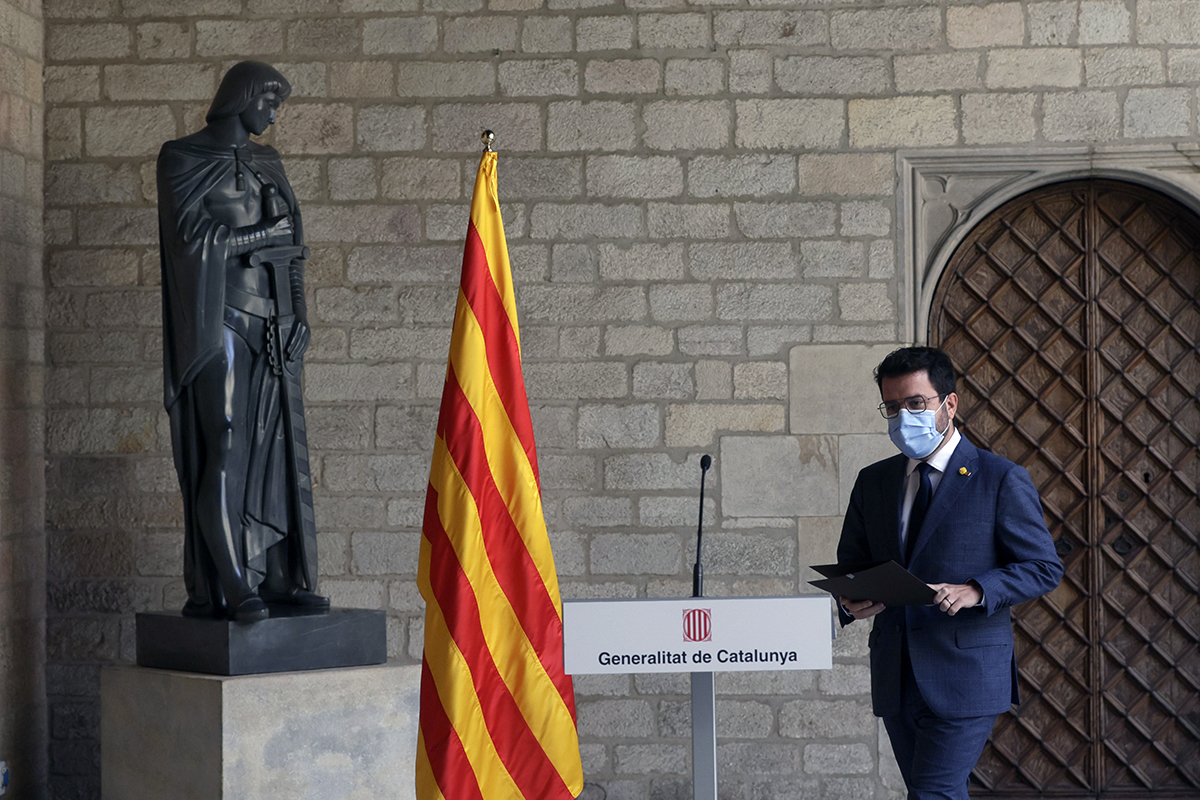 El presidente de la Generalitat, Pere Aragonès, este martes en Barcelona.