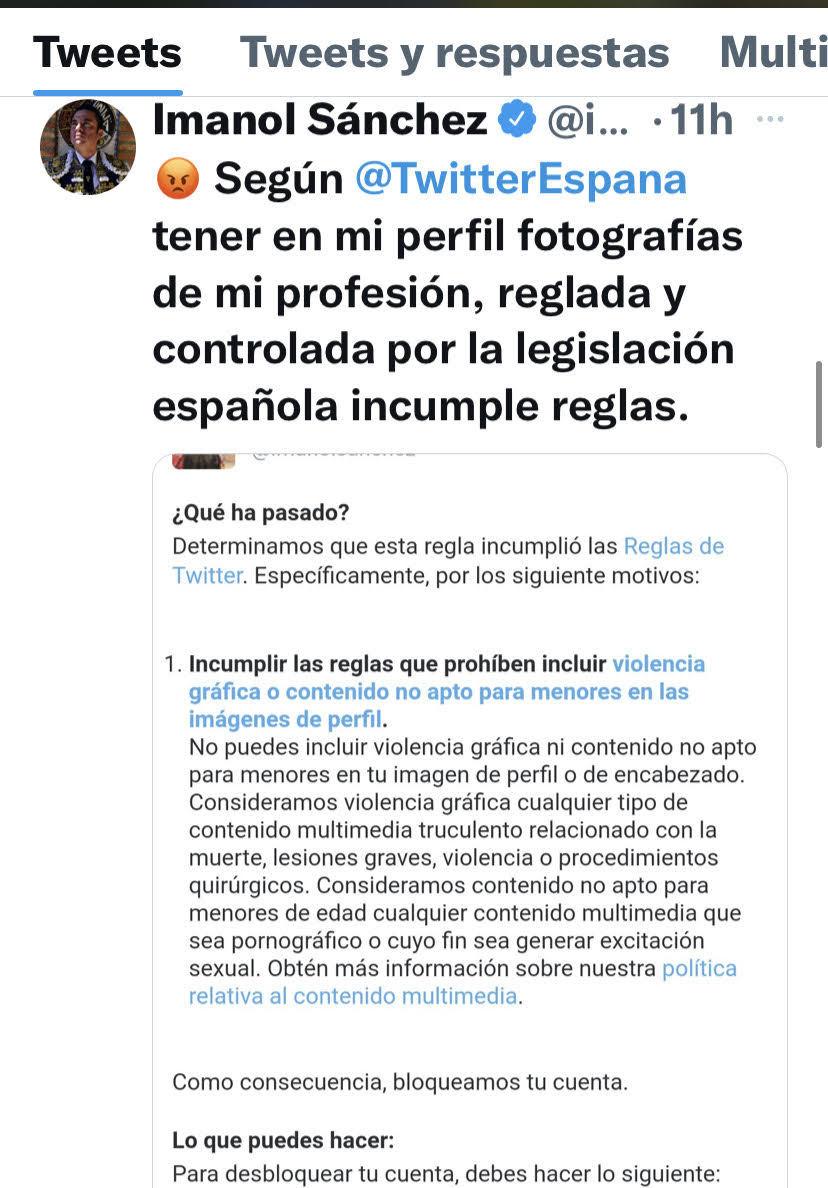 """Como sucedió con la cuenta de EL MUNDO: Twitter también bloquea el perfil del matador Imanol Sánchez por """"violencia gráfica"""""""