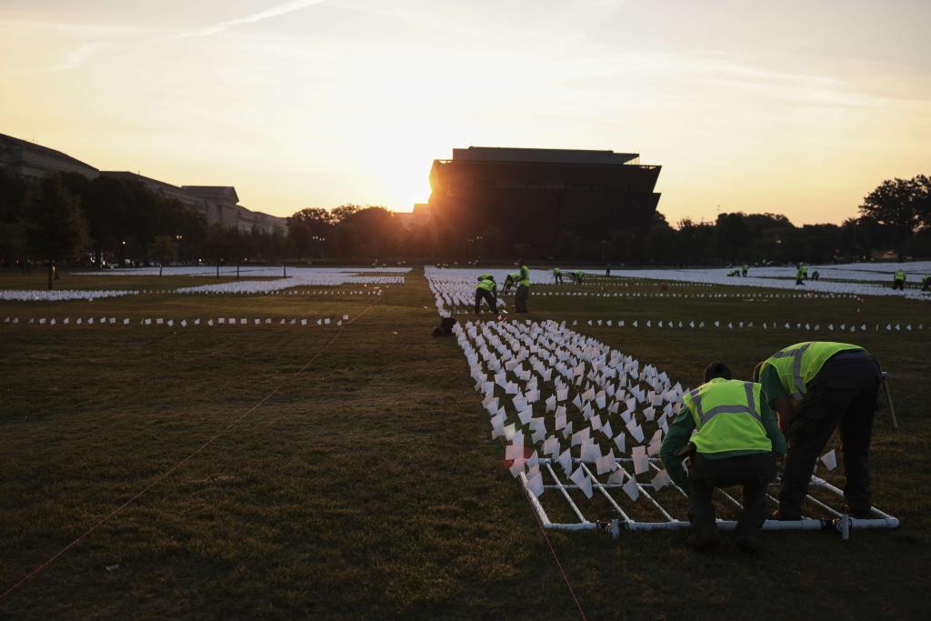 Trabajadores colocan 650.000 banderas blancas en el National Mall en representación de todos los fallecidos por Covid en EEUU.
