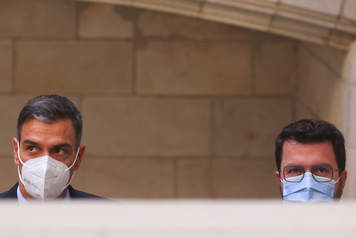 Pedro Sánchez y Pere Aragonès, este miércoles en Barcelona.