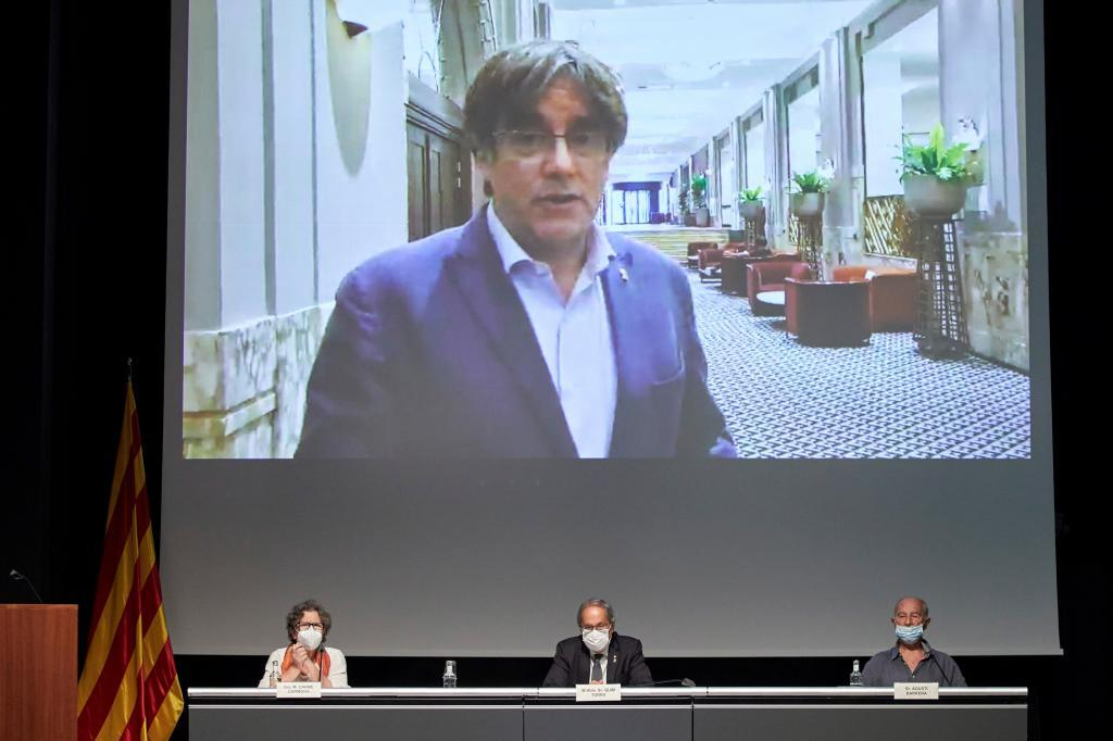 Carles Puigdemont, en un acto de homenaje a Heribert Barrera.