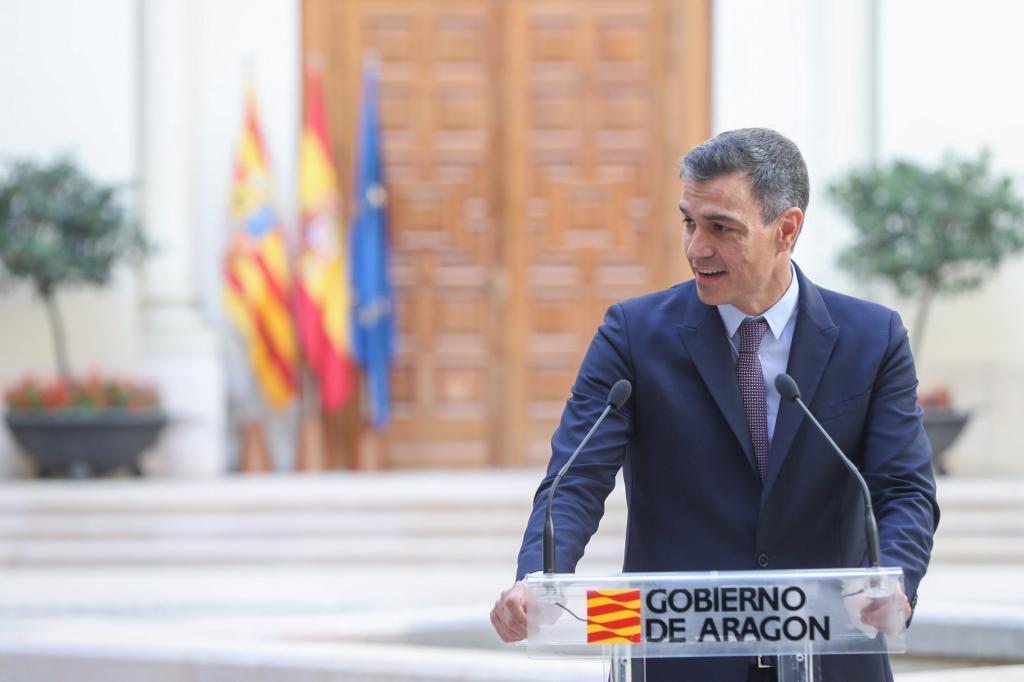 Pedro Sánchez, este jueves en un acto en Zaragoza.