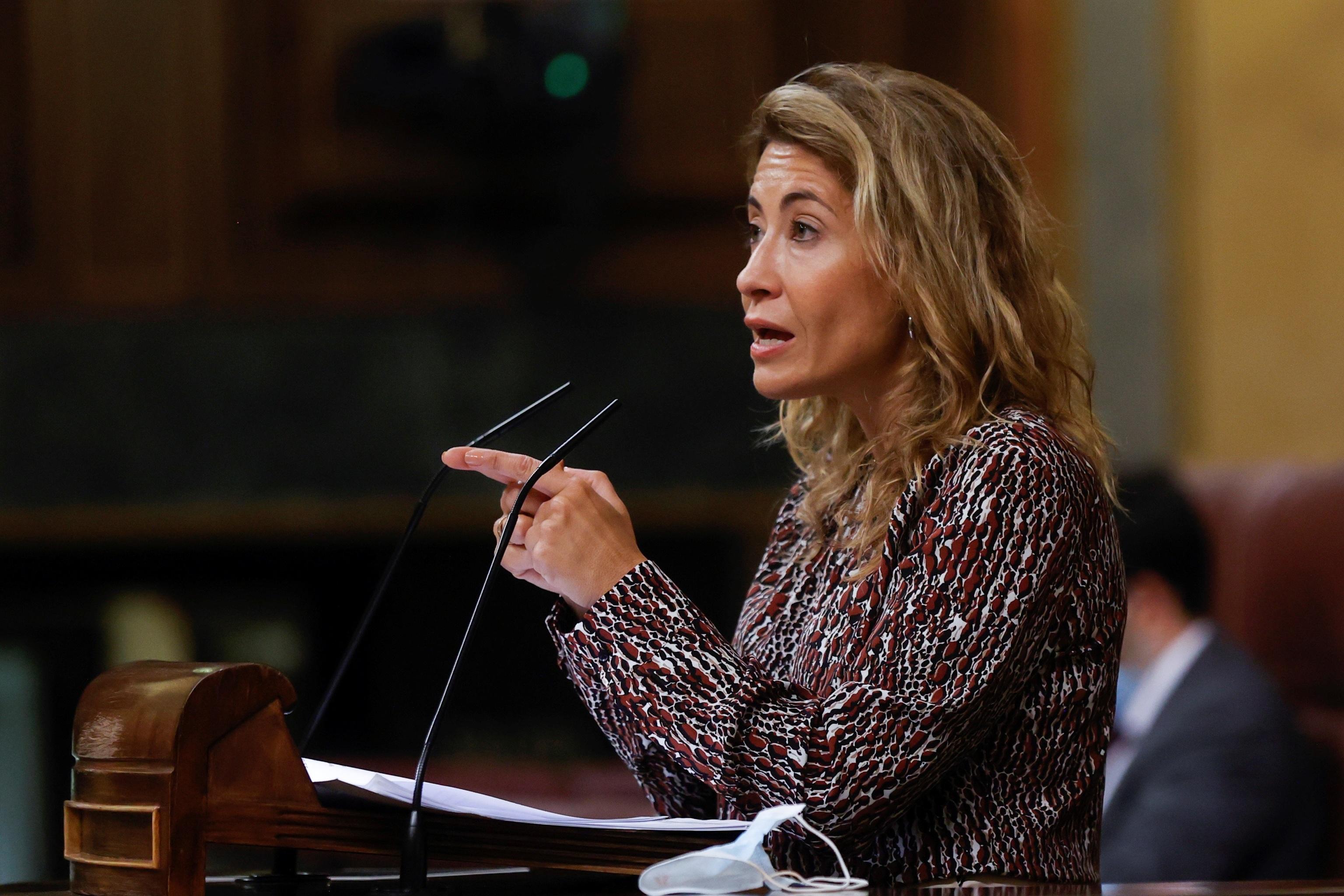La ministra de Transportes, Raquel Sánchez, en el Congreso.
