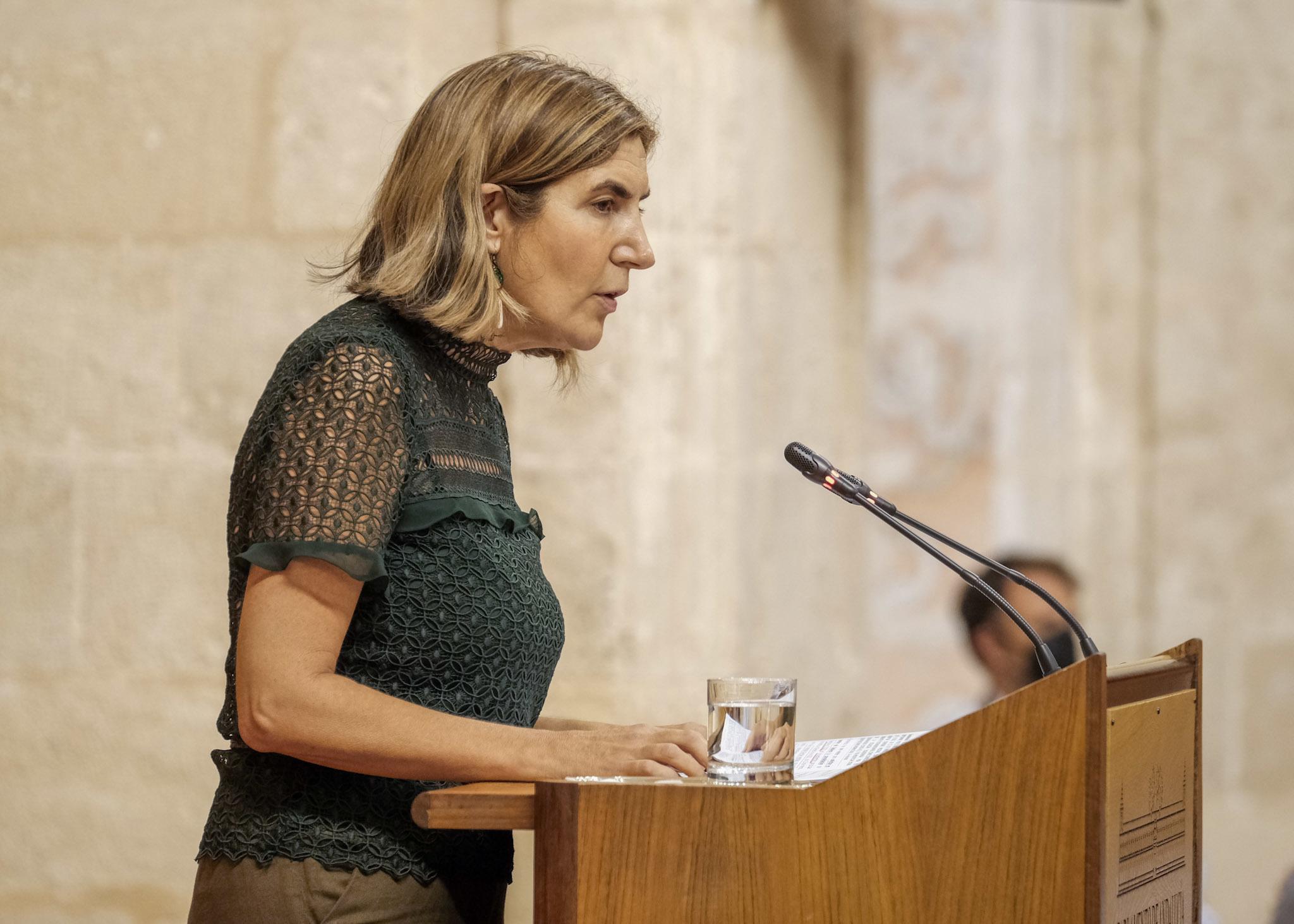 La consejera de Empleo, Rocío Blanco, en la Cámara andaluza.