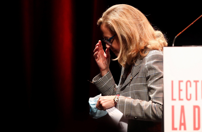 """La vicepresidenta primera Nadia Calviño, durante su participación esta semana en la lectura de la """"La Divina Comedia"""" en Madrid."""