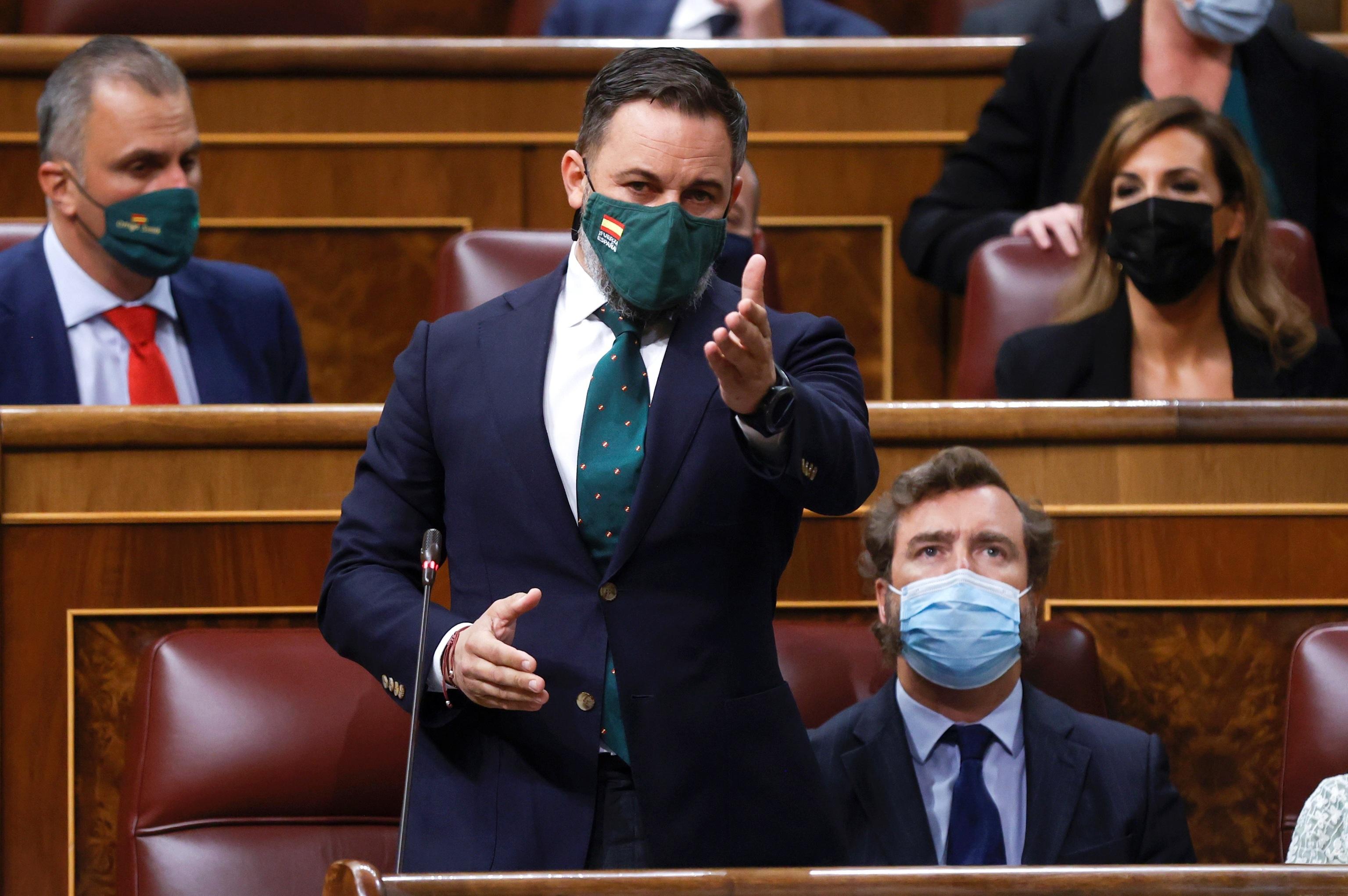 El líder de Vox, Santiago Abascal, en la sesión de control al Gobierno.