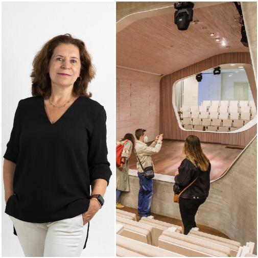 Paloma Gómez Marín es la arquitecta directora de Open House Madrid. En la imagen, junto al auditori de la Fundación Giner de los Ríos en Madrid, obra de Cristina Díaz Moreno y Efrén García Grinda, uno de los espacios que se abrieron en la edición del festival de 2020.