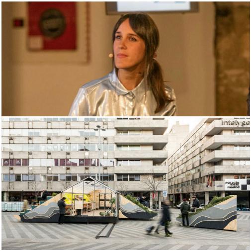 La arquitecta Rocío Pina, de Enorme Studio, junto a uno de sus proyectos urbanos, Mountain on The Moon, en la Plaza Santa María Soledad Torres Acosta de Madrid.