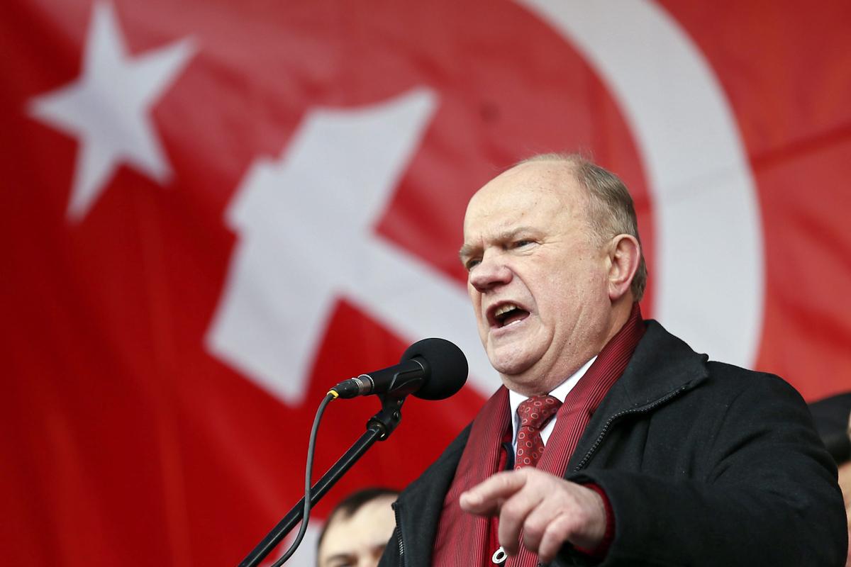 El líder comunista, Guennadi Ziugánov, durante el Día del Defensor de la Patria, en Moscú,