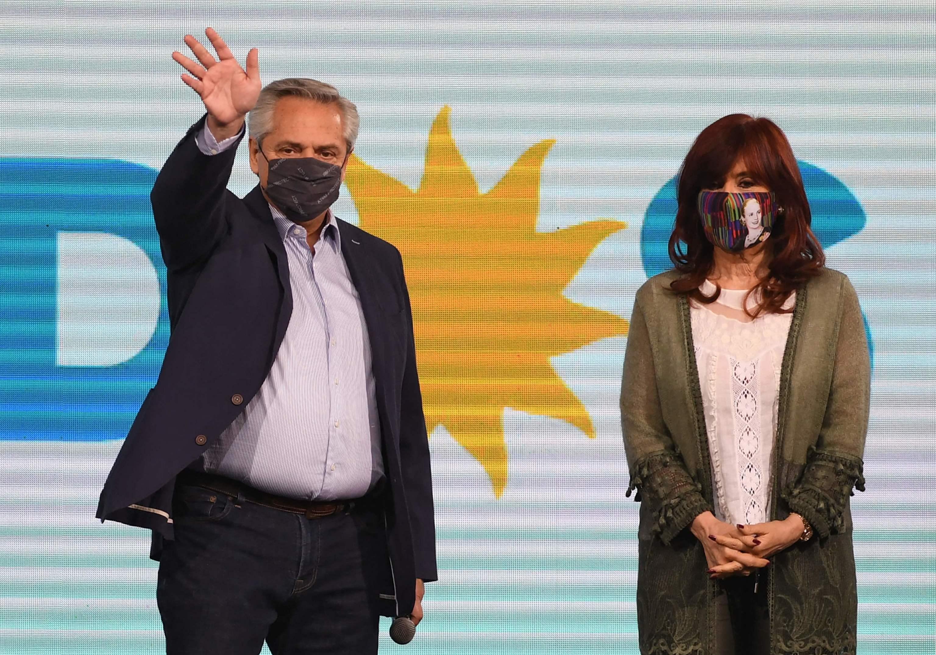 El presidente argentino, Alberto Fernández, y la vicepresidenta, Cristina Kirchner, el pasado lunes.