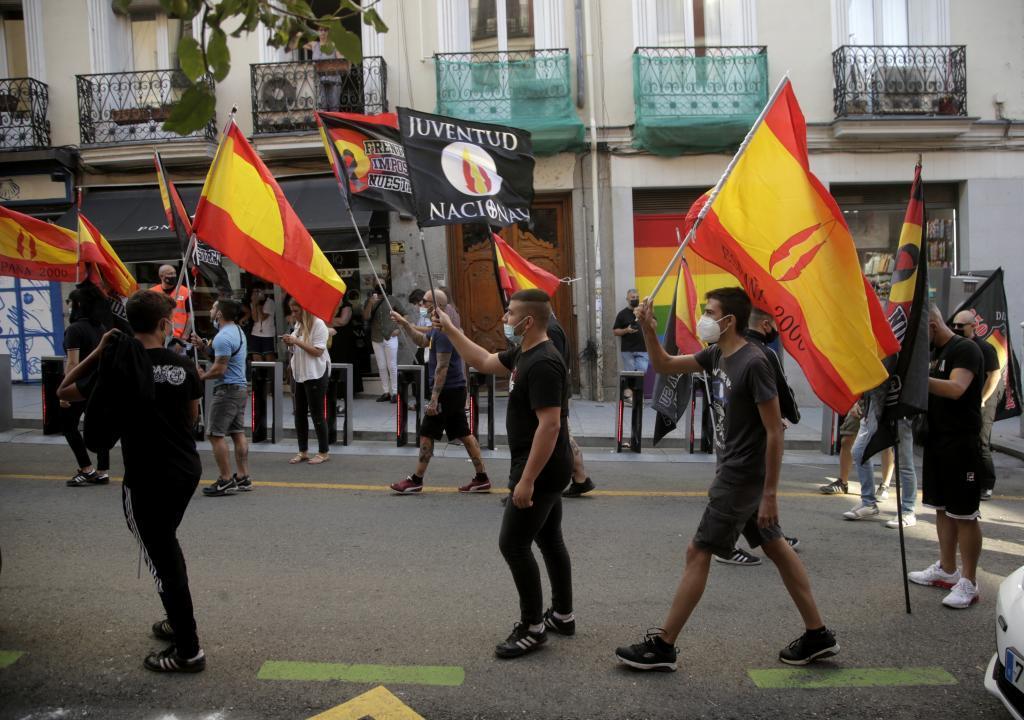Manifestantes ultas el pasado sábado en las calles de Chueca.