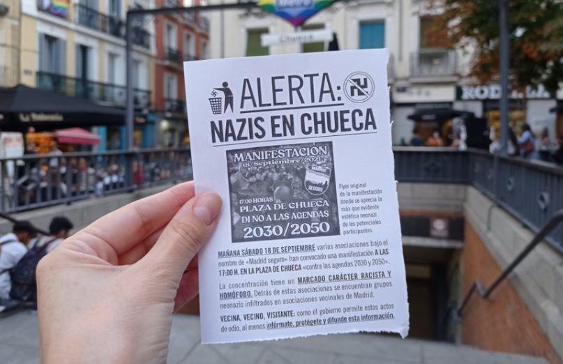 Hoja que se difundió por Chuecas advirtiendo de la marcha nazi contra el colectivo LGTBI