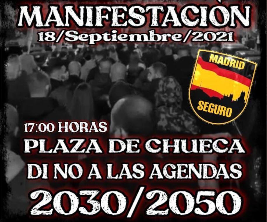 Cartel de Madrid seguro convocando la marcha del sábado