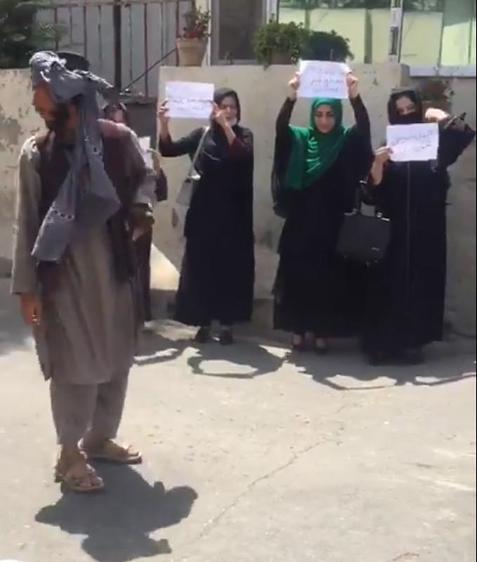 Mujere en Kabul protestando por sus derechos, el pasado mes de agosto.