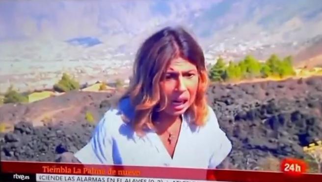 La erupción del volcán de La Palma sorprende en directo a la periodista de TVE Francisca González