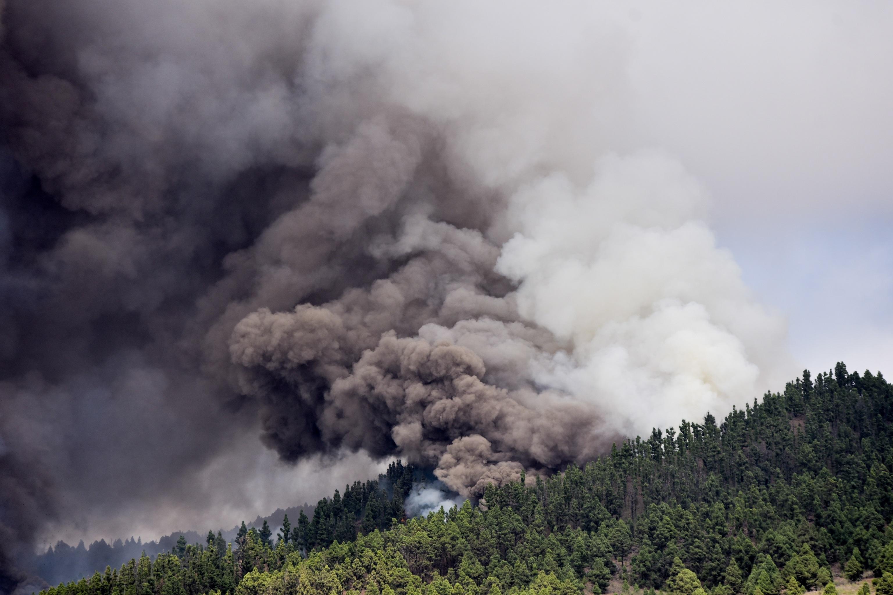 Grandes columnas de humo en la zona de la erupción en la isla de La Palma.