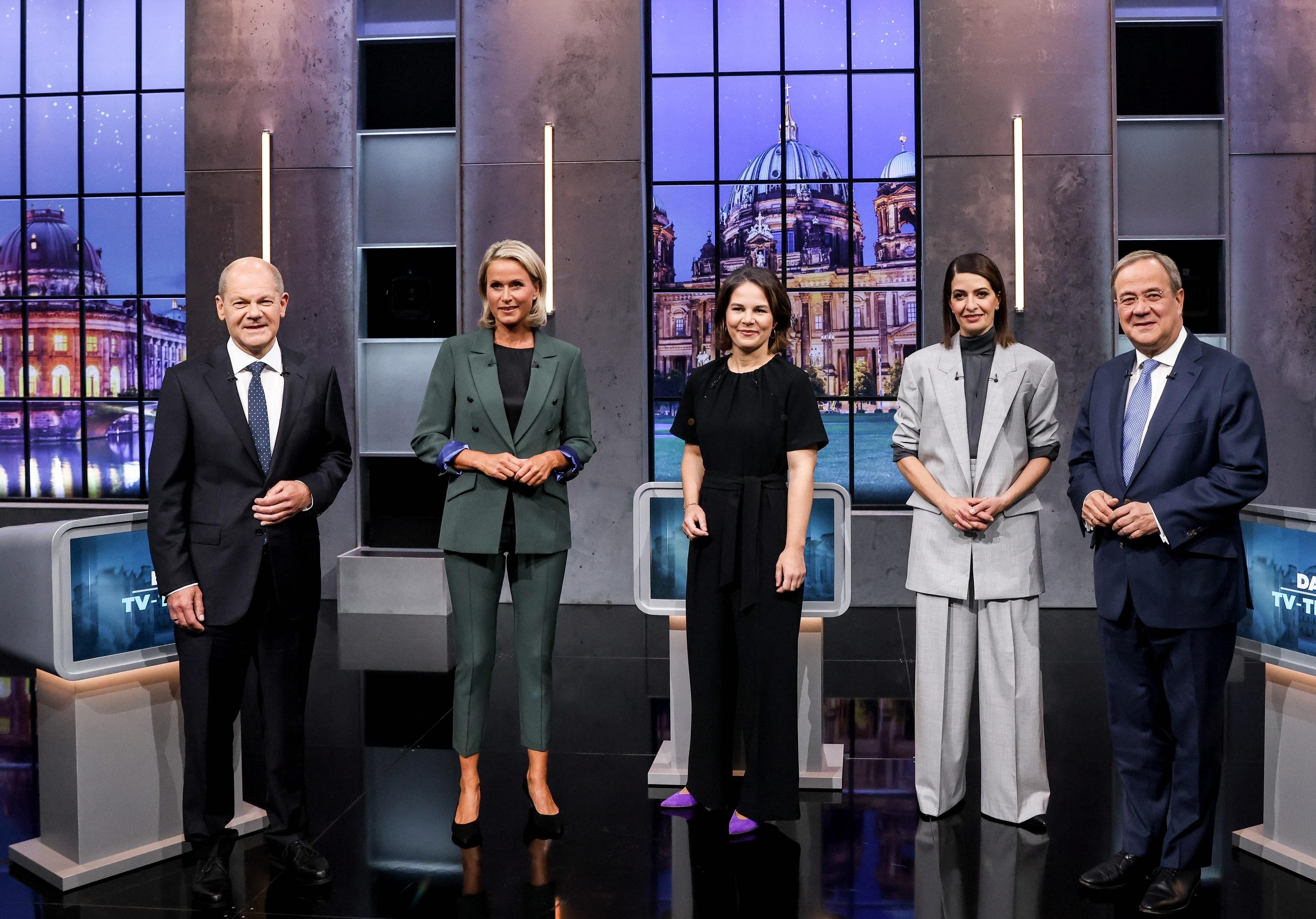 Los candidatos alemanes, en el debate de este domingo.