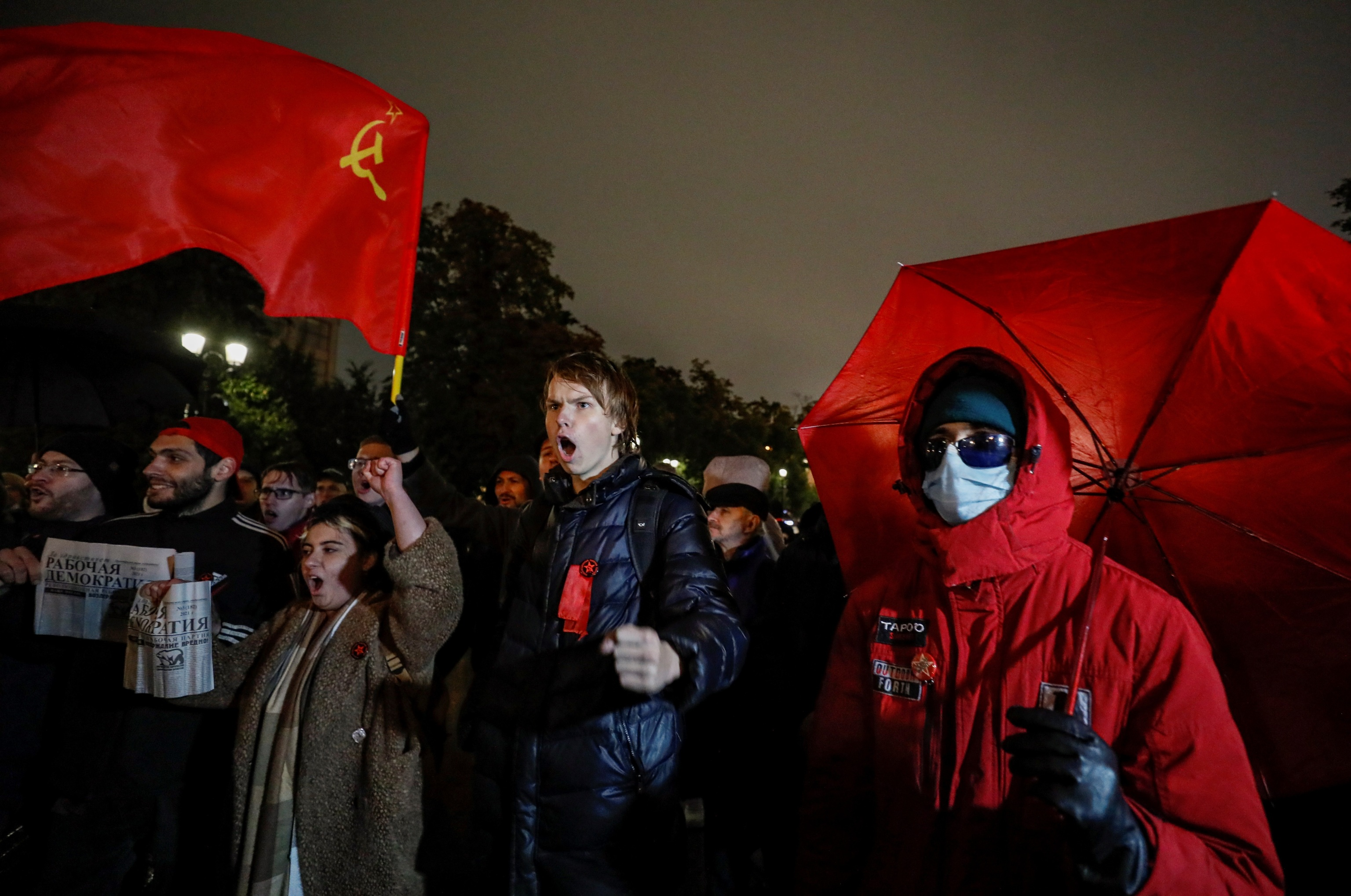 Manifestación del Partido Comunista en Moscú.
