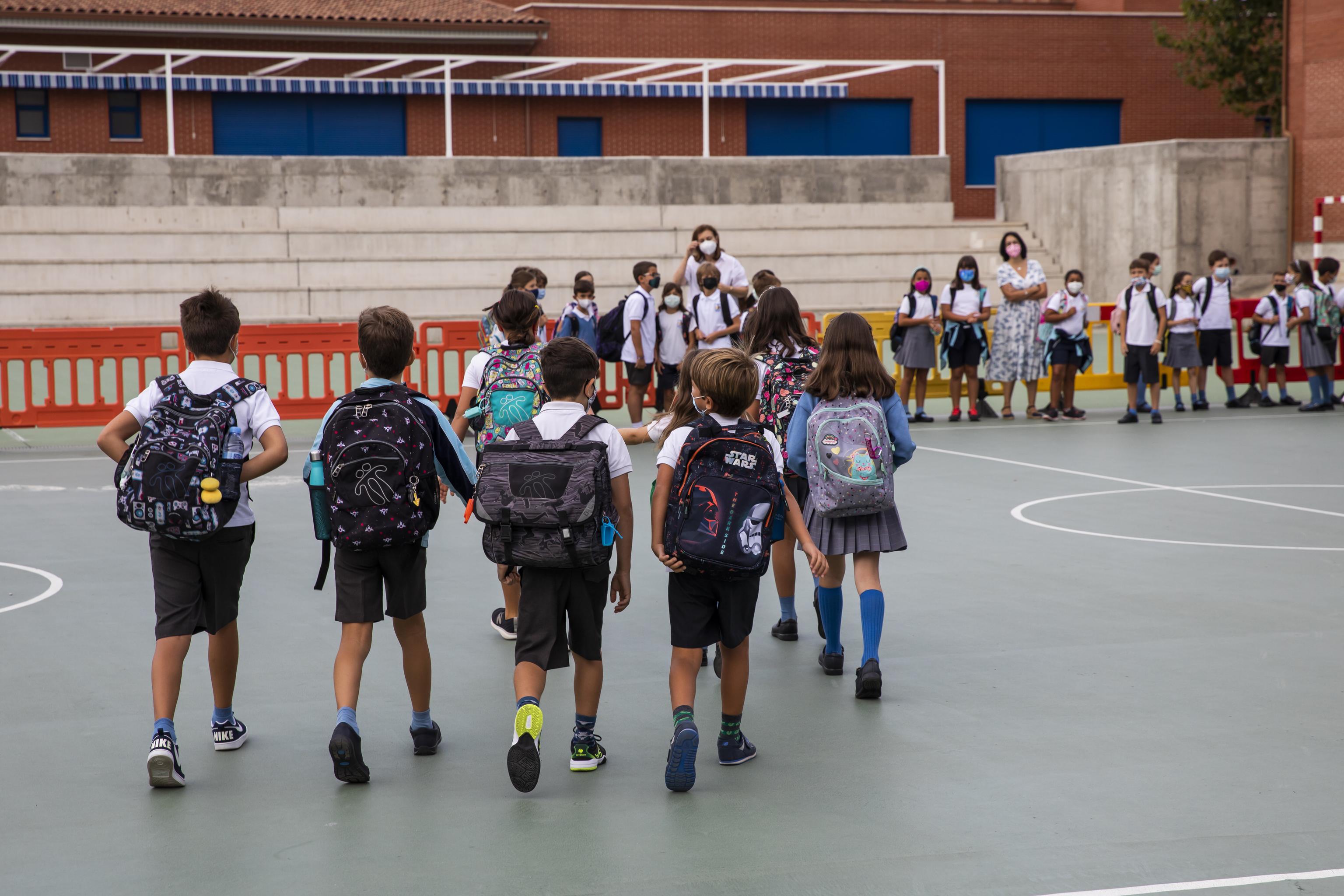Primer día de colegio en un barrio madrileño.