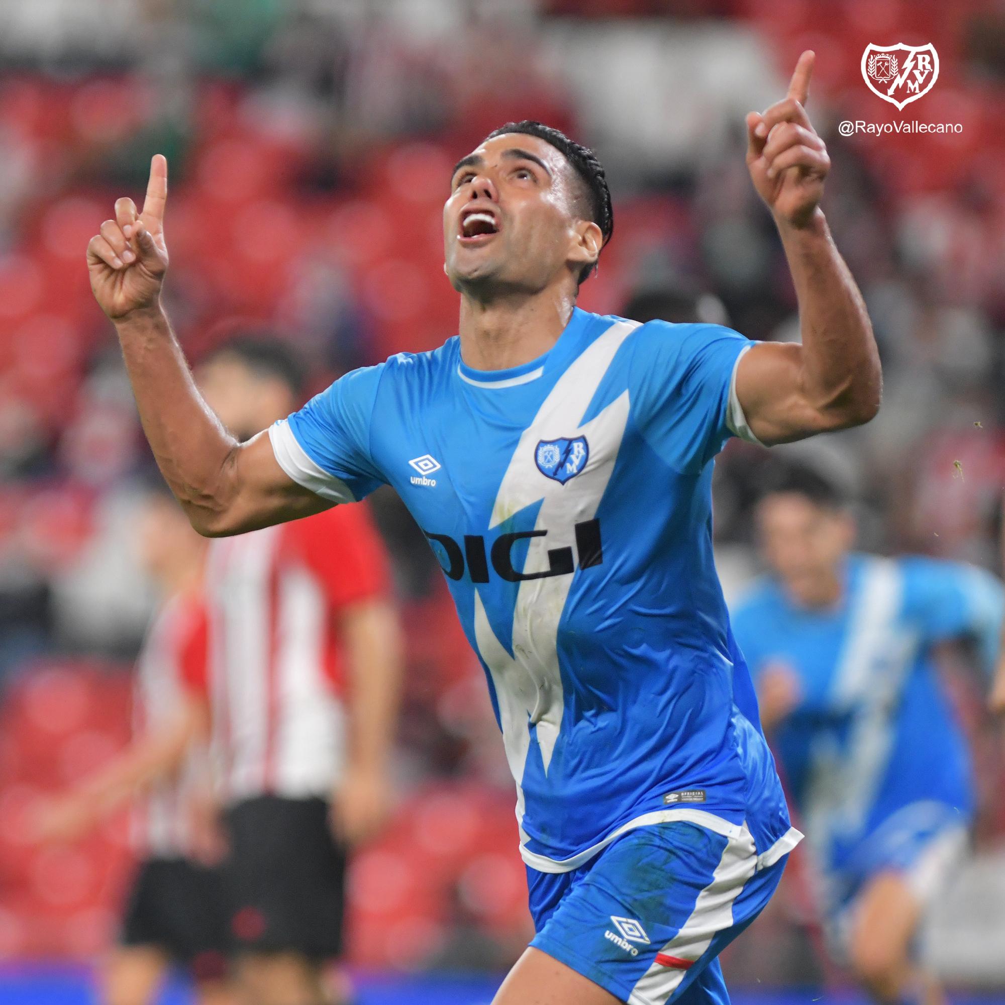 Falcao festeja el gol del triunfo ante el Athletic.