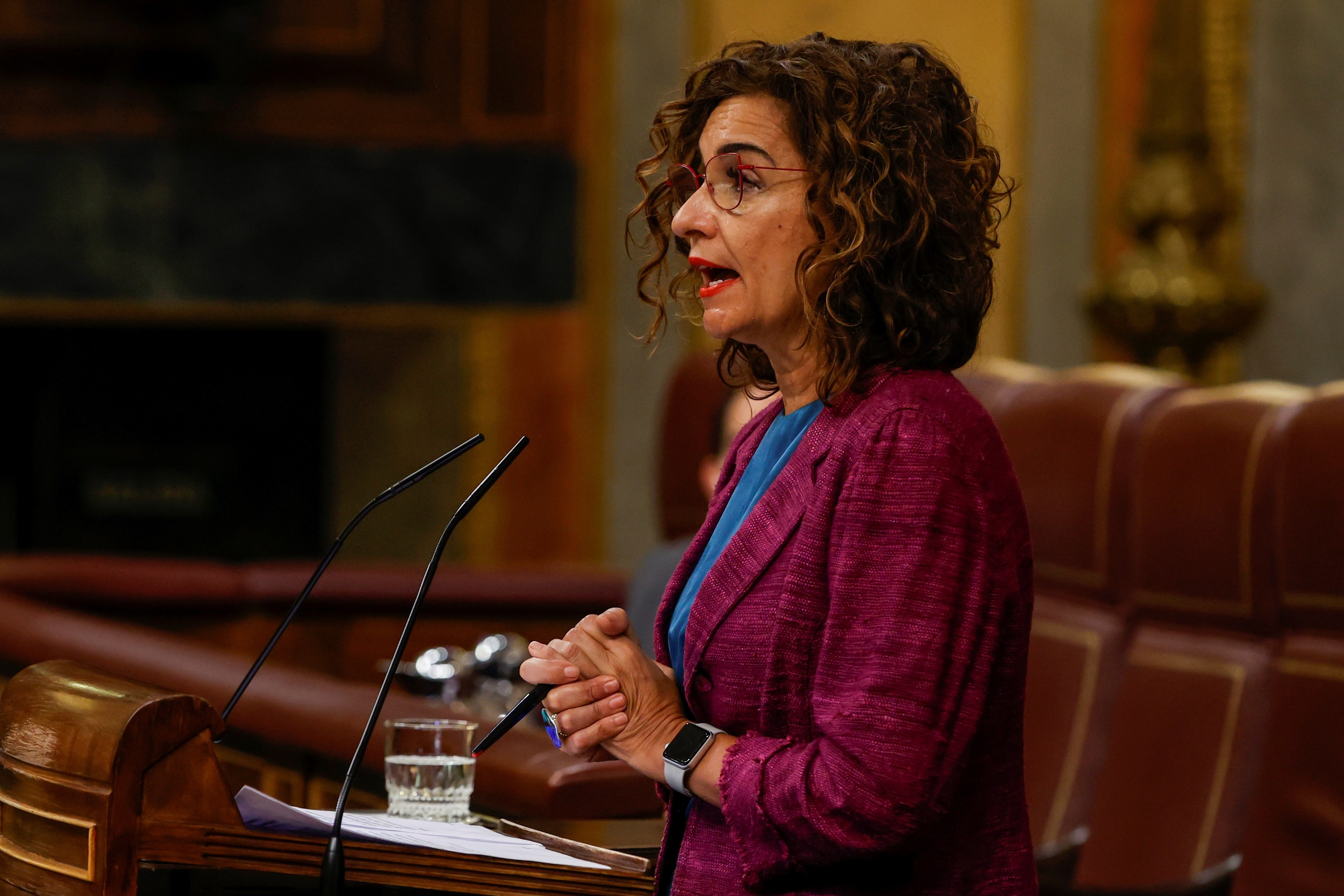 La ministra de Hacienda, María Jesús Montero, este miércoles en el Congreso.