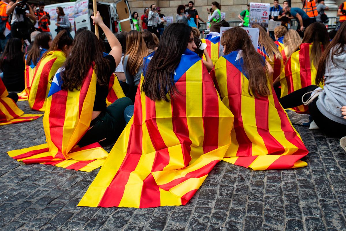 Protesta estudiantil contra la condena a los líderes del 1-O.