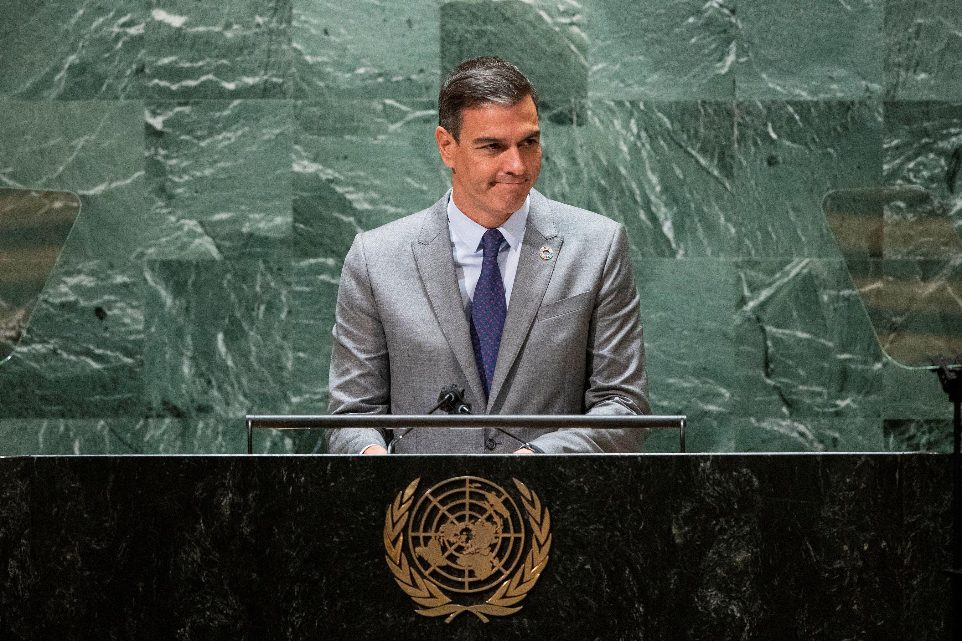 Pedro Sánchez durante su discurso en la Asamblea de Naciones Unidas en Nueva York.