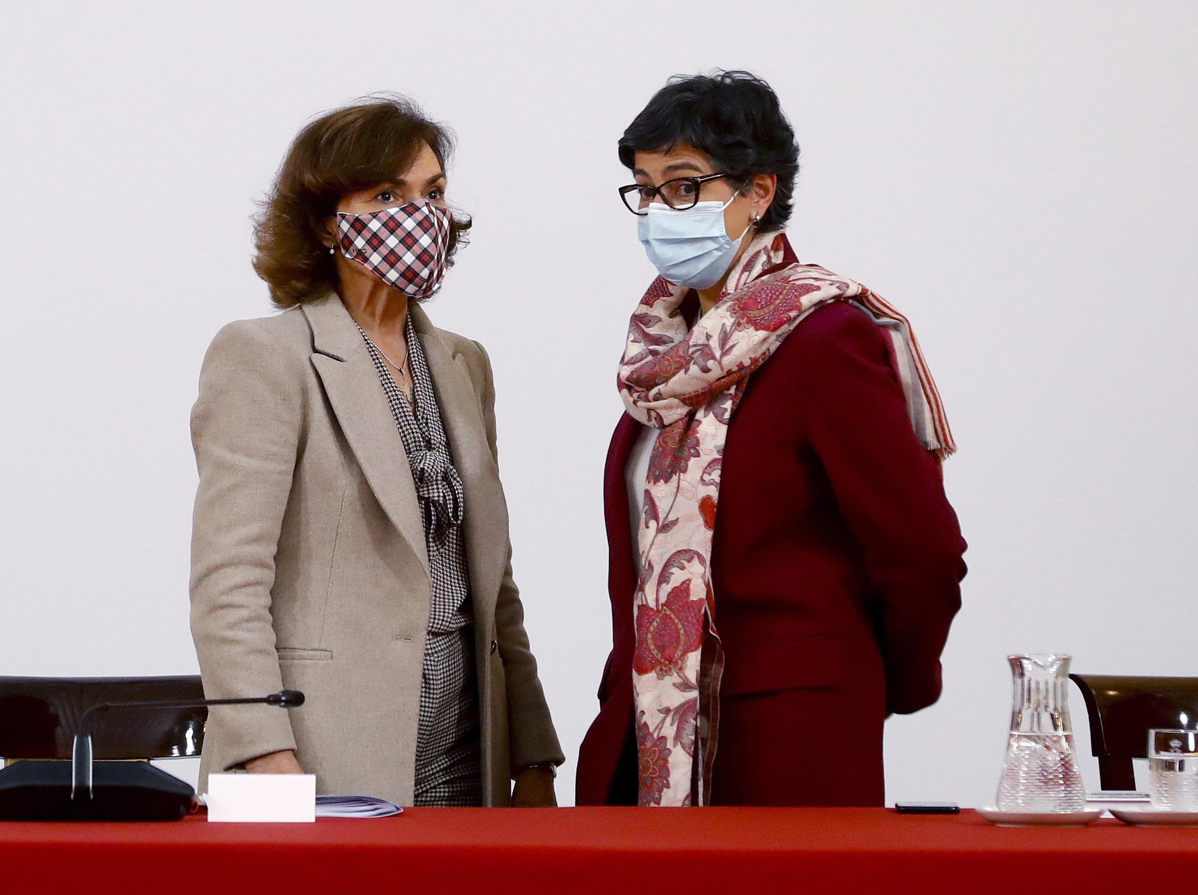 La ex vicepresidenta Calvo y la ex ministra Laya, cuando estaban en el Gobierno.