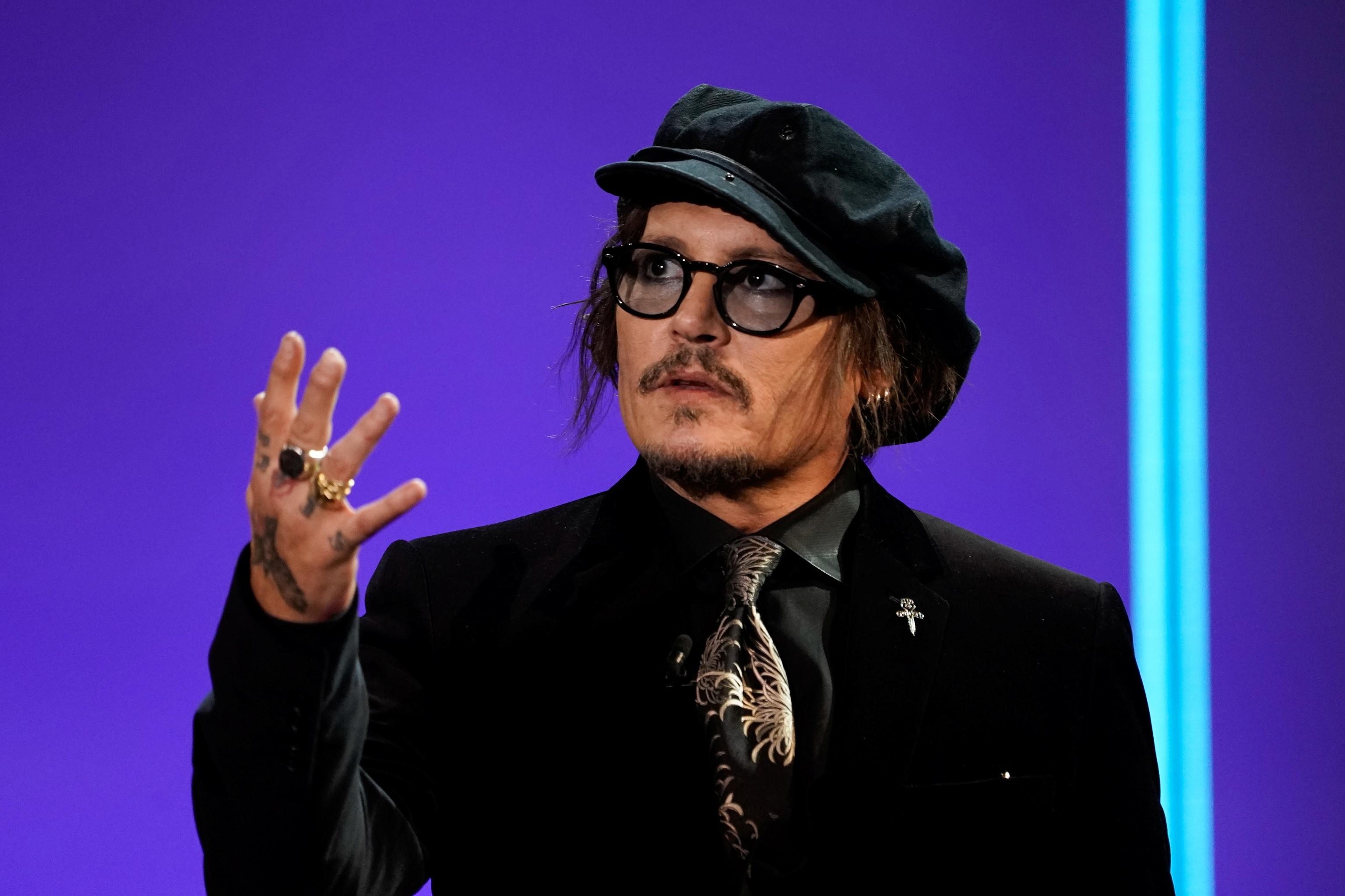 Johnny  Depp durante el acto de entrega del Premio Donostia en el Festival de San Sebastián el miércoles.