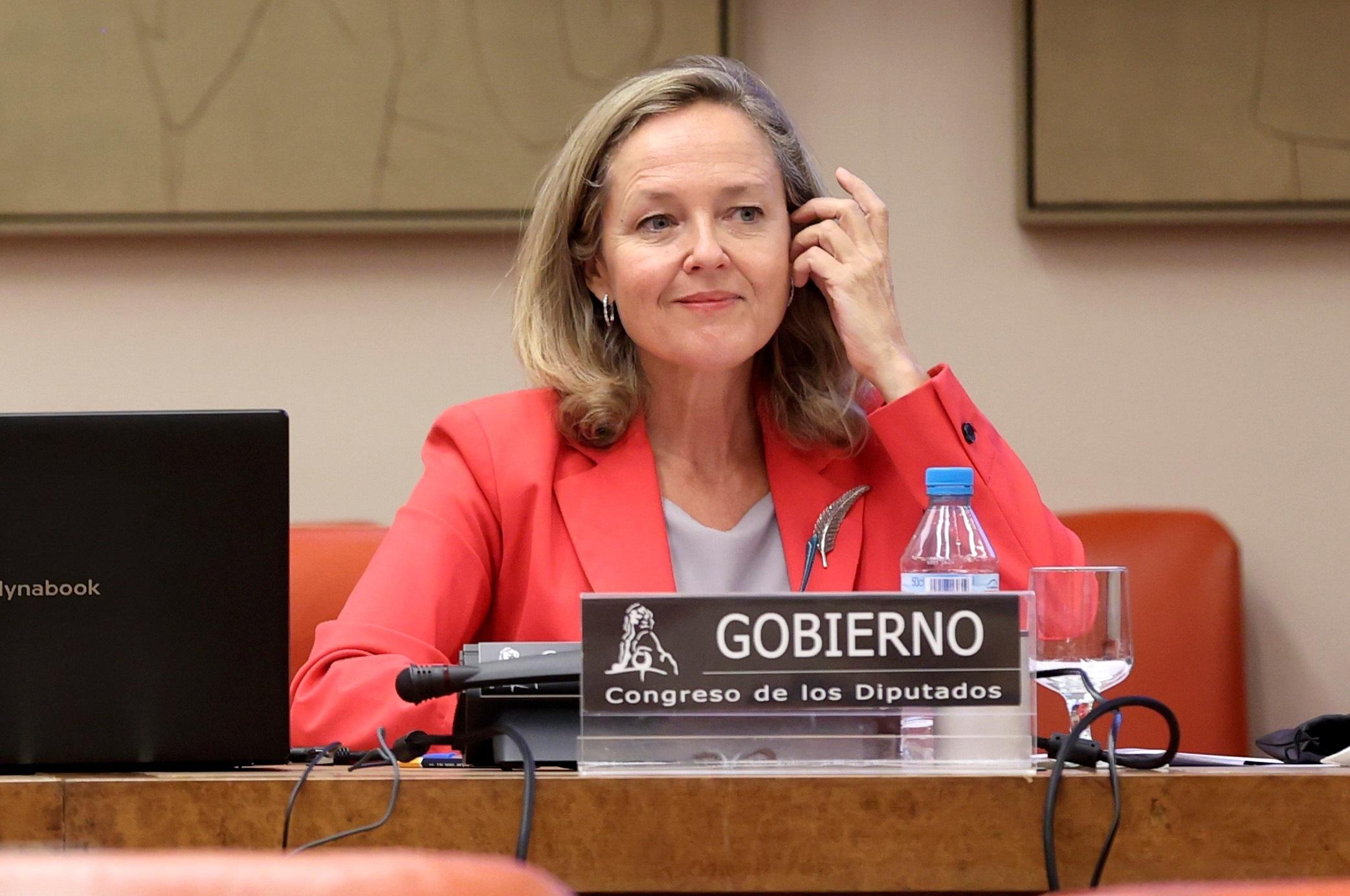 La vicepresidenta primera y ministra de Asuntos Económicos y Transformación Digital, Nadia Calviño, este jueves en el Congreso de los Diputados