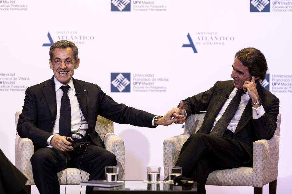 Sarkozy y José María Aznar tiene una relación estrecha. En la imagen, en la Universidad Francisco de Vitoria en 2019.