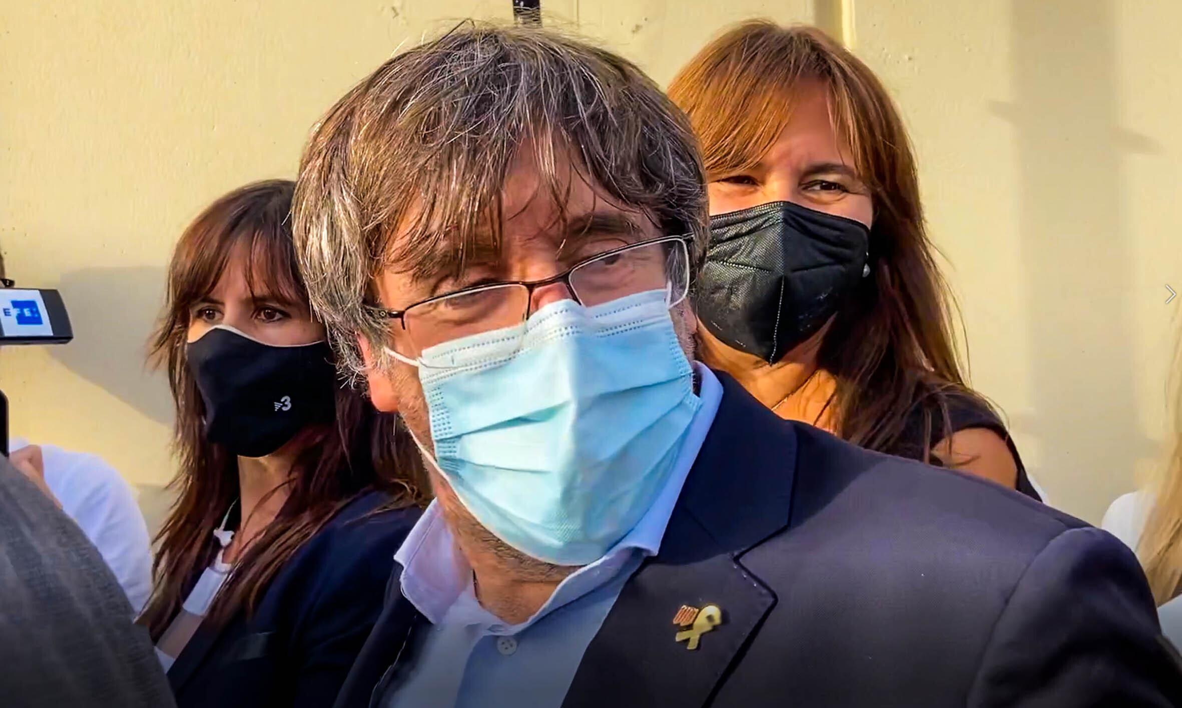 Carles Puigdemont, tras su salida de prisión, este viernes.