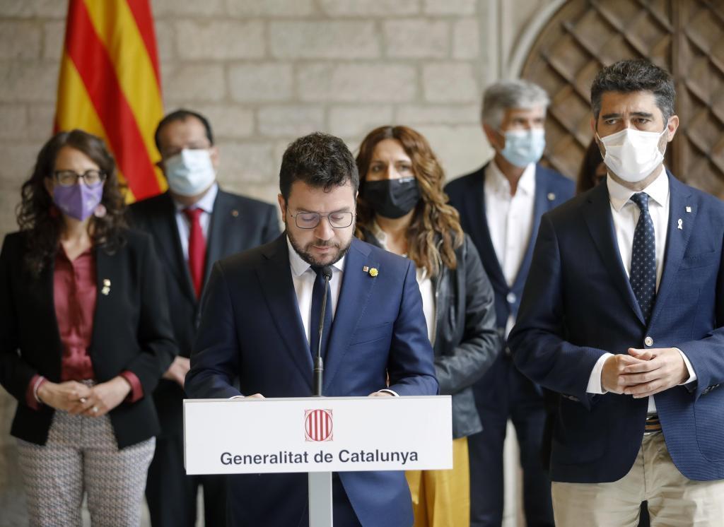 Pere Aragonès, durante su comparecencia en Barcelona.