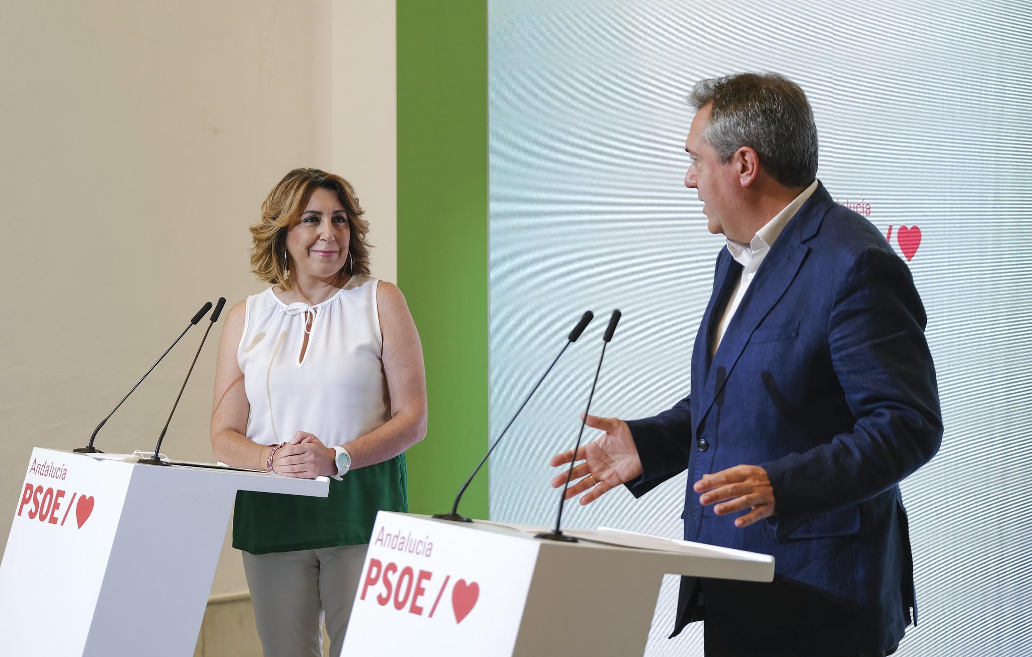 Susana Díaz y Juan Espadas, el 28 de junio pasado en la sede de los socialistas andaluces.