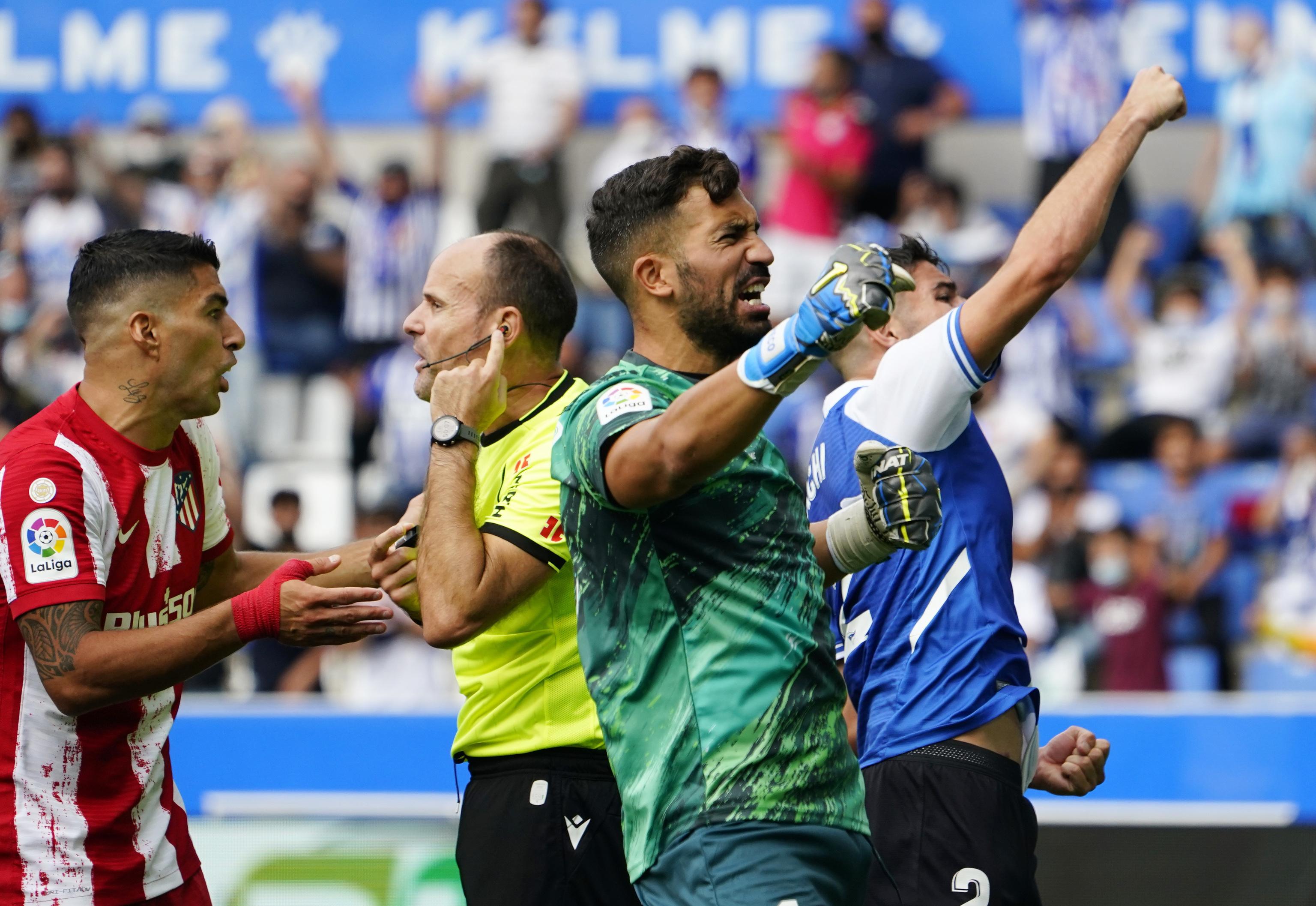 Pacheco celebra la victoria ante el Atlético.
