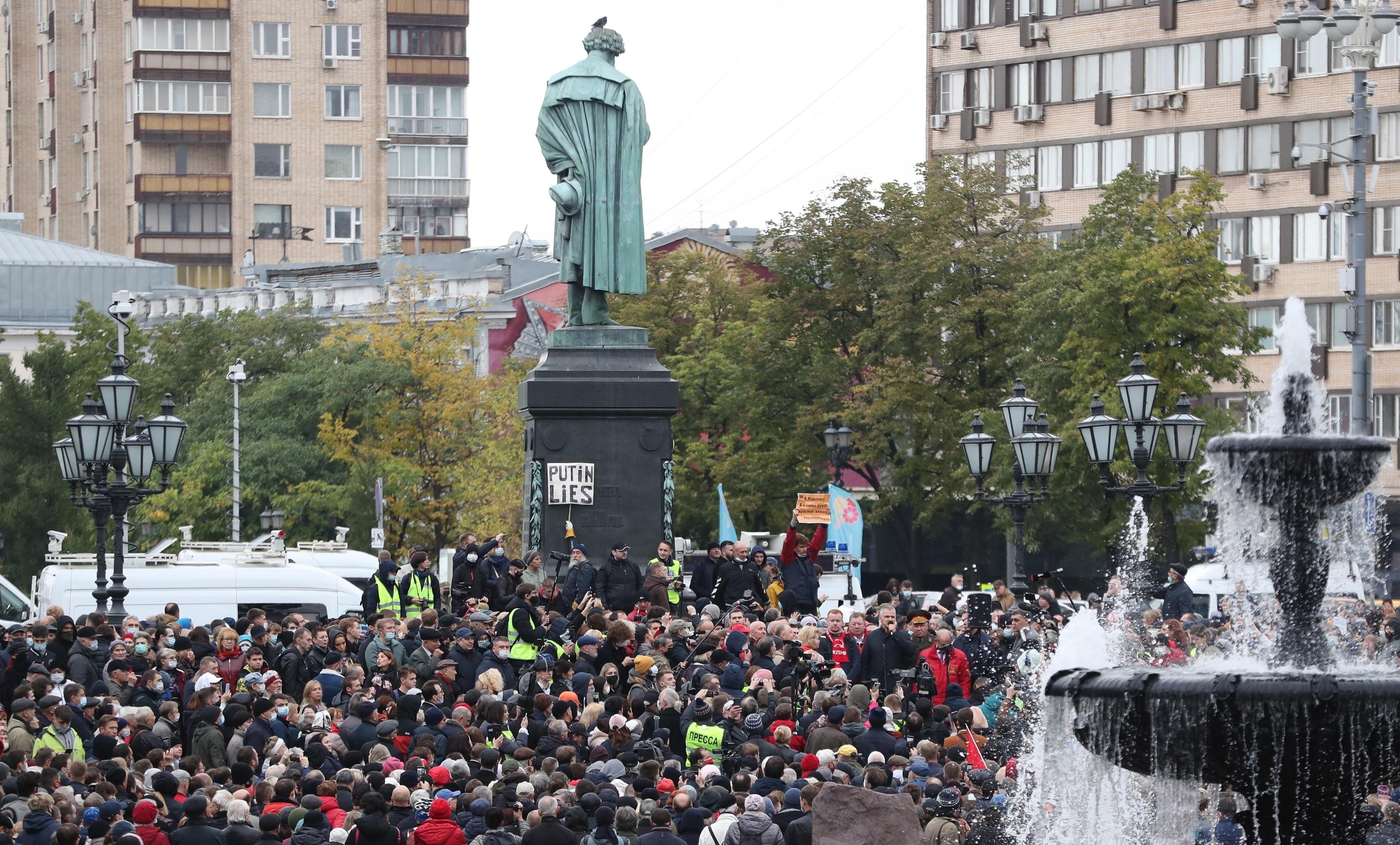 Protesta comunista hoy en Moscú.