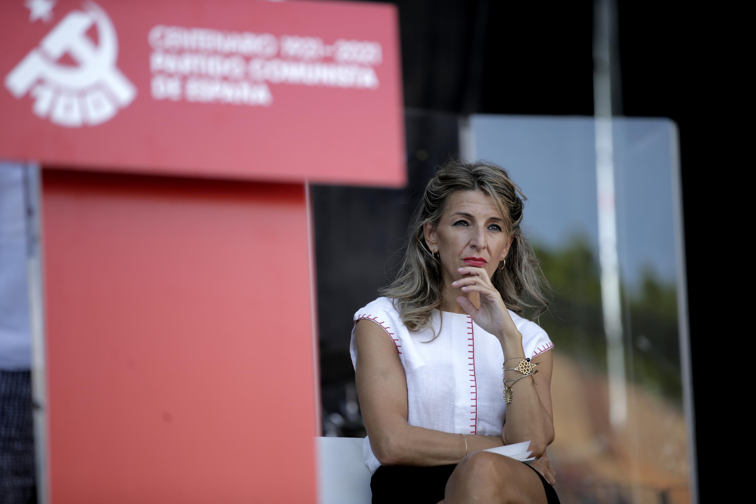 La ministra de Trabajo, Yolanda Díaz, de UP, ayer.