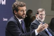 Pablo Casado y Mariano Rajoy, este lunes en la Convención Nacional del PP en Santiago.
