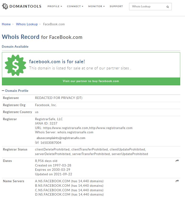El dominio de Facebook