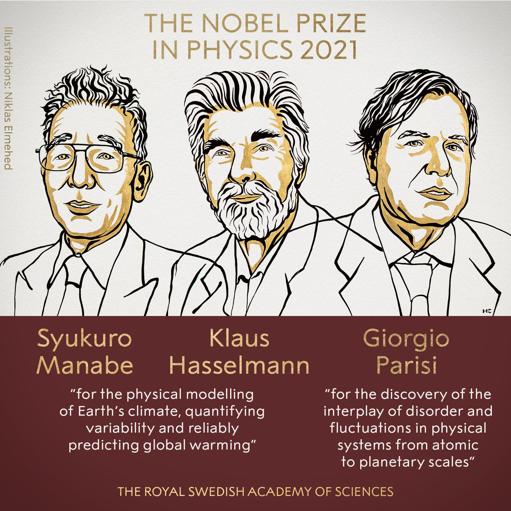 Premio Nobel de Física a Manabe, Hasselmann y Parisi por sus estudios sobre el clima terrestre y otros sistemas físicos