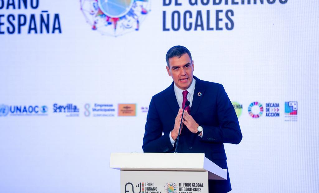 El presidente del Gobierno, Pedro Sánchez, ayer en Sevilla.