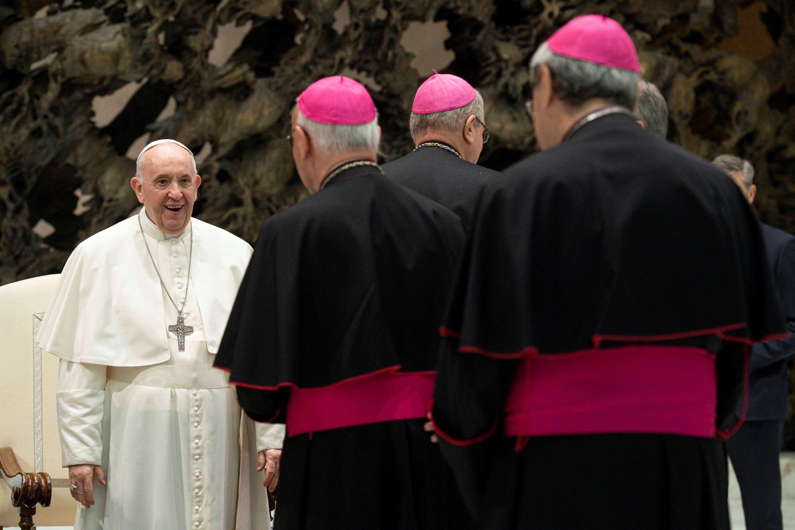 پاپ فرانسیس ، در یک جلسه عمومی در واتیکان.