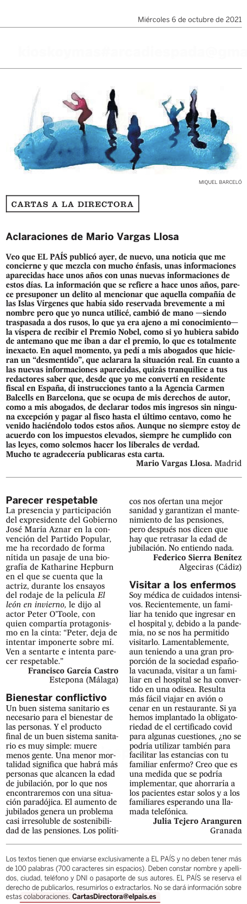 Carta que firma Vargas Llosa