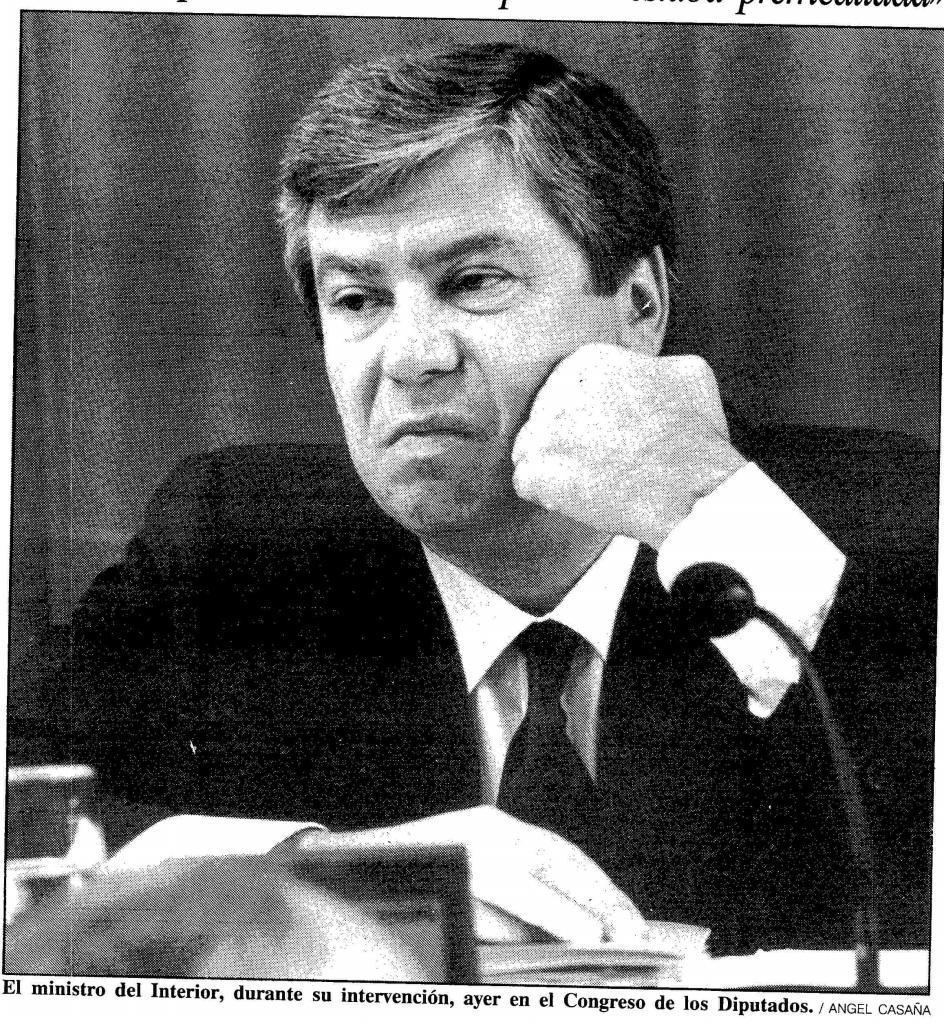 Corcuera, en 1990, durante su etapa como ministro del Interior de Felipe González.