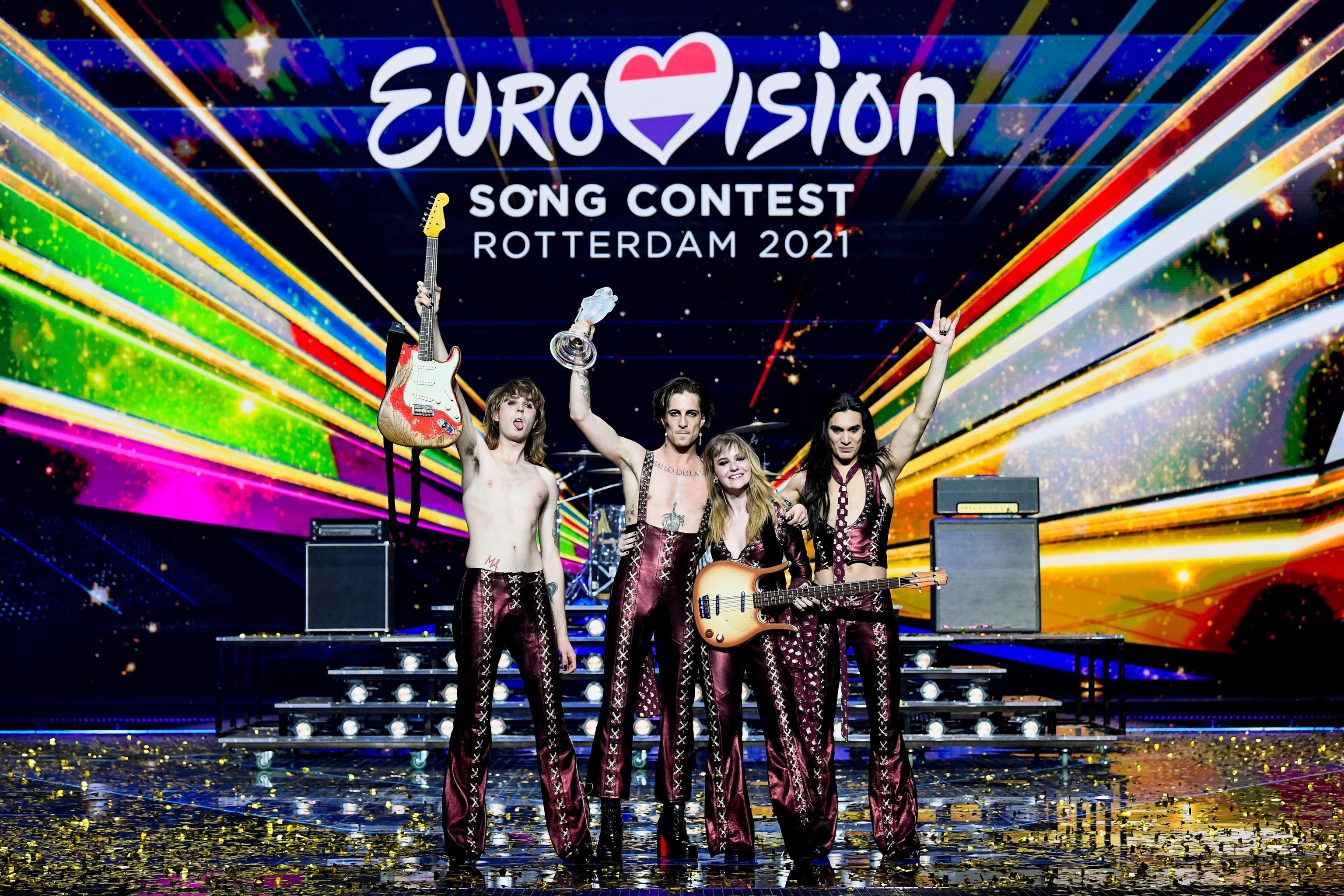 El grupo italianode rock Maneskin, tras su victoria en el festival de Eurovisión celebrado en Rotterdam 2021.