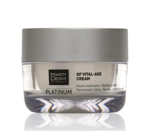 5 cremas de día de farmacia para usar a partir de los 40 que tratan manchas, arrugas y flacidez: Platinum GF Vital-Age de Martiderm