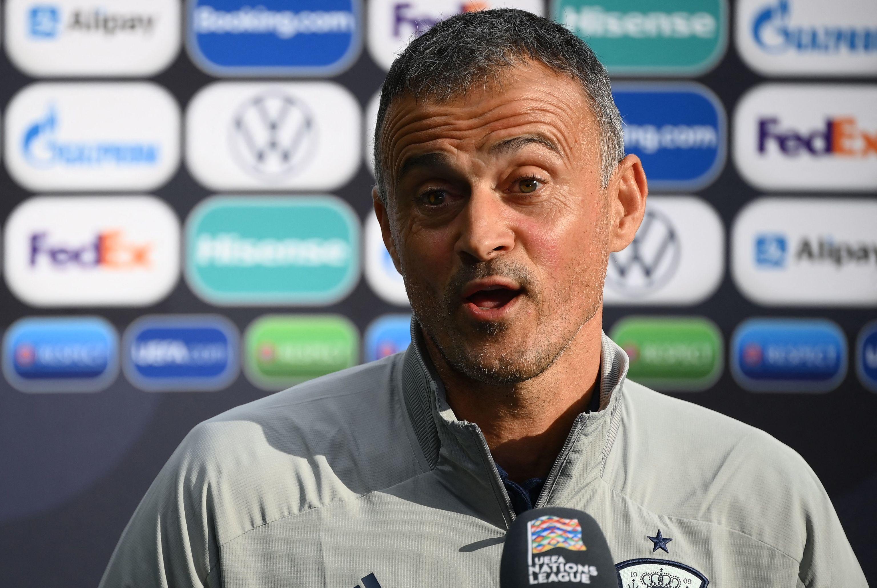 Luis Enrique, durante la rueda de prensa en Milán.