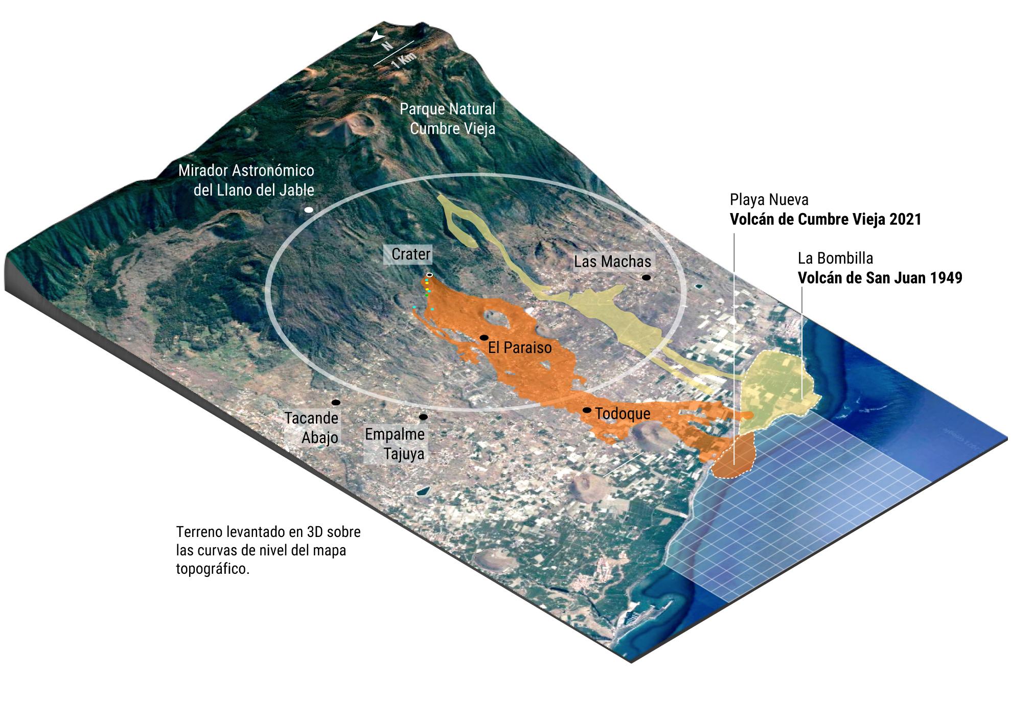 Las zonas arrasadas por el volcán de Cumbre Vieja superan ya a las de la gran erupción de 1949