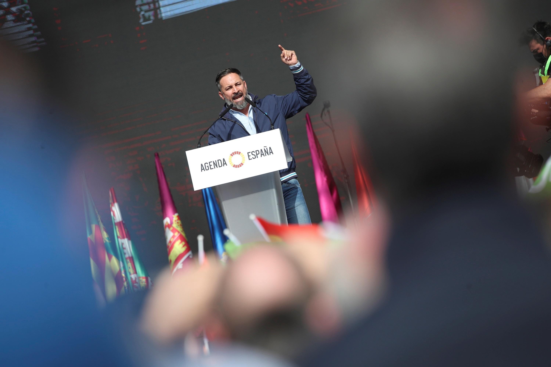Santiago Abascal, durante el cierre del acto de Vox en Madrid.